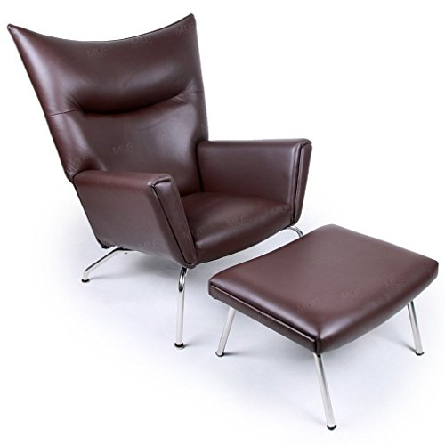 (Emorden Furniture Hans J Wegner Designed Wing Chair & Ottoman(Multi Colors Available), Top-Grain Dark Brown Aniline Premium Leather/Stainless Steel)