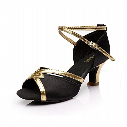 Presidente Zapatos Negro Clásico Zapatos Baile Latino Onecolor Talón Sandalias Baile Blando Jazz Satinado Alto Cuero Fondo Tobillo Baile de Modern Samba Adulto BYLE Trenzado de 7cm Social de wHv41Oq