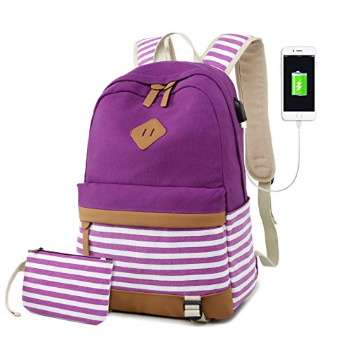 Canvas Laptop Backpack College Student School Backpack Fits 15.6 inch Computer, Women Rucksack Travel Daypack With USB Charging Port (Purple)