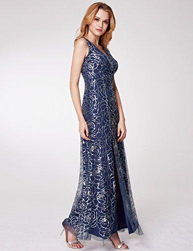 Schlitz Pretty Ausschnitt Kleider 07287 seitlichem Navy Damen Lange Ever funkelnder rückenfrei Blau V mit Blumendruck Pailletten 7X1qd7wz