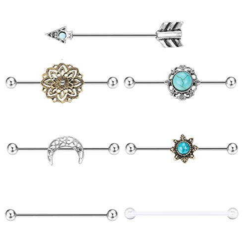 Bar Barbell Piercing - Milacolato 7PCS Industrial Barbell Earring Cartilage Piercing 14G Surgical Steel Turquoise Industrial Piercing Jewelry