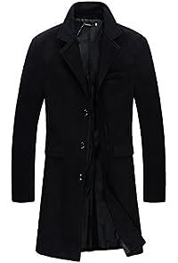 Cromoncent Men Thicken Fleece Denim Faux Fur Lined Distressed Casual Jacket Anoraks Parka Coat