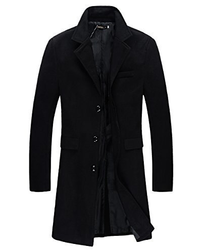 Beninos Mens Trench Coat Autumn Winter Long Jacket Overcoat (DY01 Black,L)