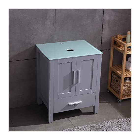 """24"""" Grey Bathroom Vanity Cabinet and Sink Combo Glass Top MDF Wood w/Sink Faucet &Drain Set - Environmental-friendly MDF wood material cabinet with oil paint on it, durable, stable and water-proof. Main cabinet size: 19*24*30 inch (L×W× H) . Sink size: 16.5 in*5.5(L×W× H), Sink thickness:0.5 inch. Faucet height:12 inch 1.5 GPM faucet help you save much water, prevent water splashing. - bathroom-vanities, bathroom-fixtures-hardware, bathroom - 41z9kFhRvwL. SS570  -"""