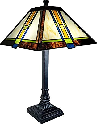 "20"" Ht Arts And Crafts Mission Style Tiffany Lamp Tle-2-b6962"