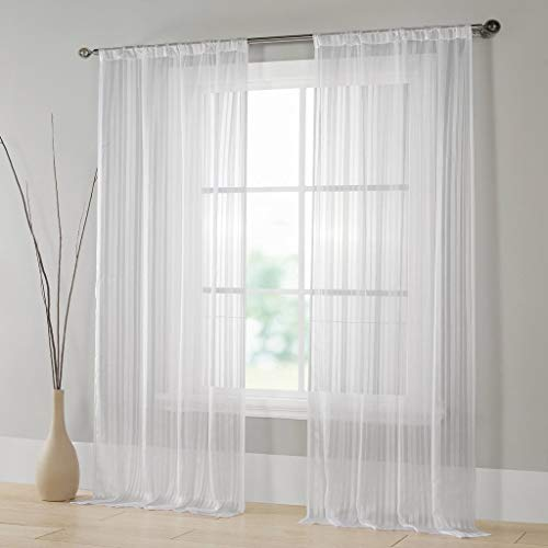 Duck River Textile Darcey Linen Look Sheer Pole Top Window Curtain Drapes for Bedroom, Livingroom, Kids Room, Children, Nursery-Assorted Colors-Set of 2 Panels, 40 x 96 Inch, White, 2 Piece ()