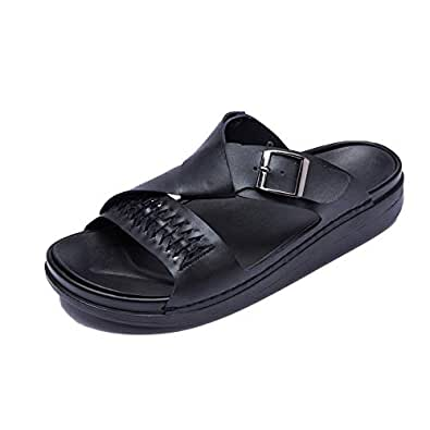Xujw-shoes, Mens Outdoor Sandals Summer Beach Casual Slipper Open Toe Walking Fisherman Shoes Antislip OX Leather Monk Strap Casual Simple Solid Colors Outsole (Color : Black, Size : 5.5 UK)