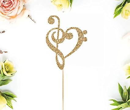 Amazon com: Treble Bass Clef Heart Cake Topper Music Heart Music