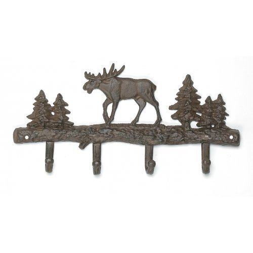 Cast Iron Moose Wall Key Rack Holder 4 Hooks Coat Hook Home Decor