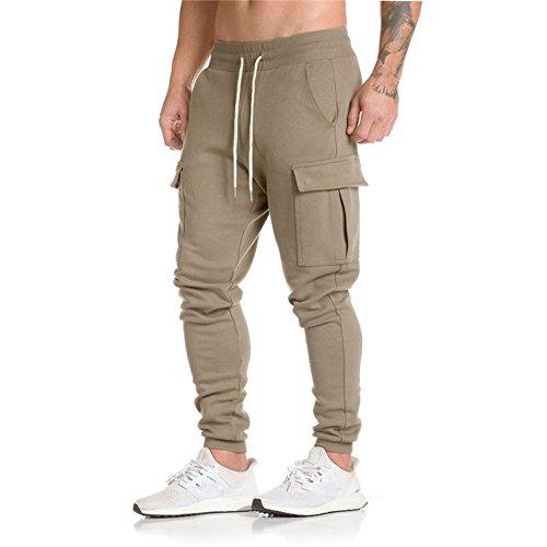 TOOPOOT Men Sweatpants,Cargo Work Trousers Jogger Basic Sportwear Jogging Outdoor Pants (Size: L, Khaki)