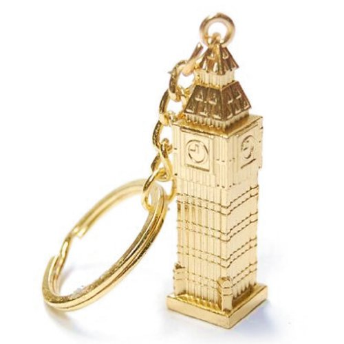 Gold Big Ben London Key Chain, Key Ring or Key Fob; 2 Inches Tall Metal Souvenir and Gift