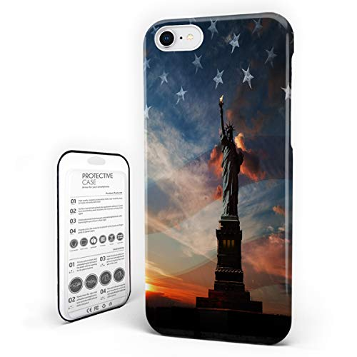 Customize Phone Protective Cover Statue of Liberty and American Flag Independence Day Ultra Slim Protective Hard Plastic Case Cover for iPhone 7/8]()