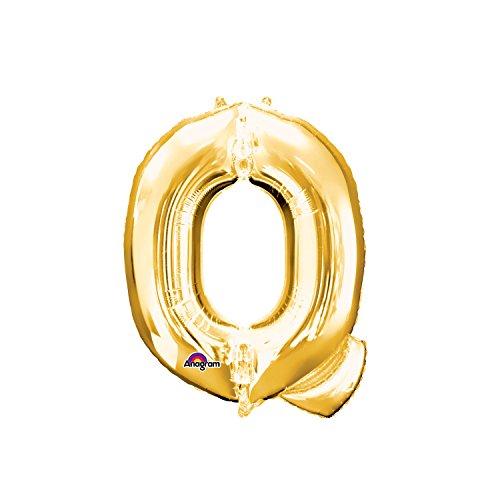 Regina 106485.1, Balão Metalizado Super Shape Letra Q Pack, Dourado