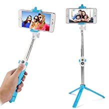 Fashion Bluetooth Remote Control Selfie Stick for Blu Vivo / Iphoe 7 / 7 Plus / HTC Desire Eye / One M7 / LG G Stylo / Motorola Moto G / Asus ZenFone 2 / Google Pixel / Nexus 6p (Aqua)