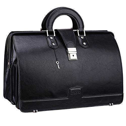 Ronts Men's Briefcase PU Leather Lawyer Bag 15.6 Inch Laptop Bag Tote Bag Attach Case with Lock Business Bag Black