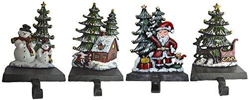 Lulu Decor, Cast Iron Christmas Stocking Holder, Set of 4 hooks, Sleigh with deer, Santa with gifts, House with kids & Snowman with christmas tree (House) by LuLu