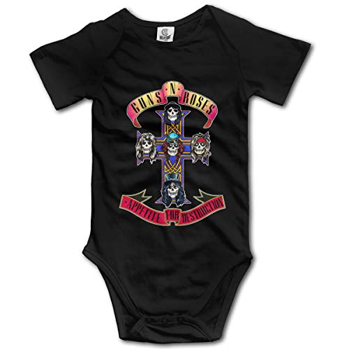 JohnBHaws Guns N' Roses Lovely Round Neck Short Sleeve Baby Creeping Suit Black 12M