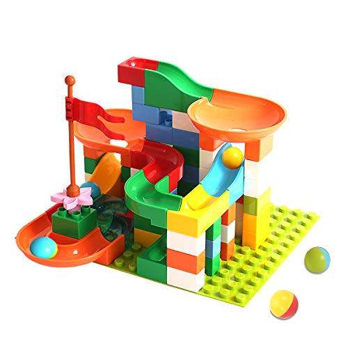 Locke Teddy Marble Run Building Blocks Construction Toys Set, Create Your Own Marble Maze Run Race Track Puzzle Game, Marble Race Track for Kids (74 PCS) ()