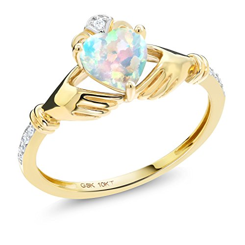 - Gem Stone King 0.81 Ct Irish Celtic Claddagh White Simulated Opal Diamond Accent 10K Yellow Gold Ring (Size 8)