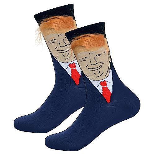 Psampa 3D Fake Hair Trump Crew Socks - Unique and Interesting Socks