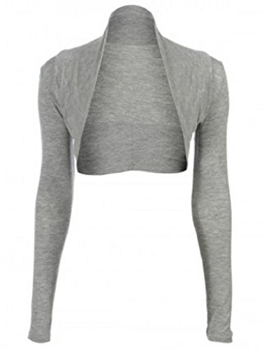 Hot Hanger Womens Long Sleeved Bolero Shrug Size 8-22 (8-10 SM, Light Grey)