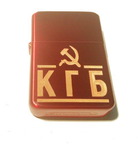 Vector KGM Thunderbird Custom Lighter - USSR Hammer & Sickle KGB in Russian Sparkle RED Polish Gold Chrome Rare!]()