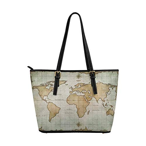 InterestPrint Custom PU Leather Totes Top Handle Casual Shoulder Bags Aged Old World Map