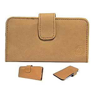 Jo Jo A8 Nillofer Leather Carry Case Cover Pouch Wallet Case For Lenovo S880 Tan