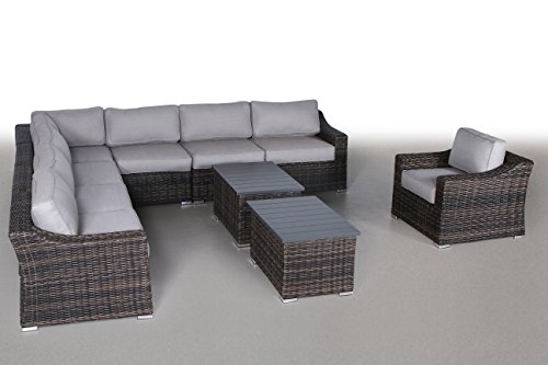 Century Modern Outdoor Marina Collection Patio Furniture Sofa Garden, Sectional Furniture Set Resort Grade Furniture. No Assembly Required [CM-5910] (10 Piece, Marina Brown) ()