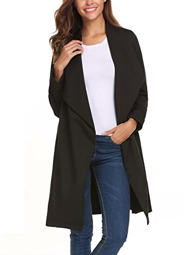 Mofavor Women's Lapel Collar Casual Open Front Cardigan Belted Trench Coat Jacket With Pockets(Black,L) by Mofavor (Image #2)