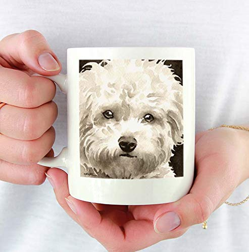 Bichon Frise Custom 11oz Mug With Dog Art Featuring Watercolor Painting by Artist DJ Rogers