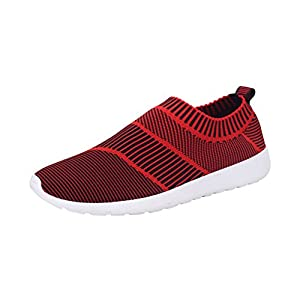 T&Mates Mens Slip-Ons Elastic Comfort Knitted Vamp Fashion Sneakers for Sport Walking Exerices (10 B(M)US,Red)