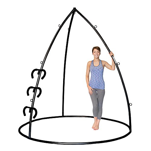 Omni Stand (Omni Gym Omni Stand- For Hanging Yoga Swings, Hammock Chairs, Suspension Training, Inversion Therapy (Black, 7'11