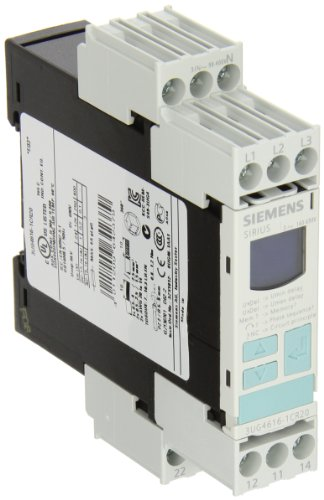 (Siemens 3UG4615-1CR20 Monitoring Relay, Three Phase Voltage, Insulation Monitoring, 22.5mm Width, Screw Terminal, 1CO For Vmin and Vmax Contacts, 0-20s For Vmin and Vmax Delay Time, 160-690 Line Supply Voltage)
