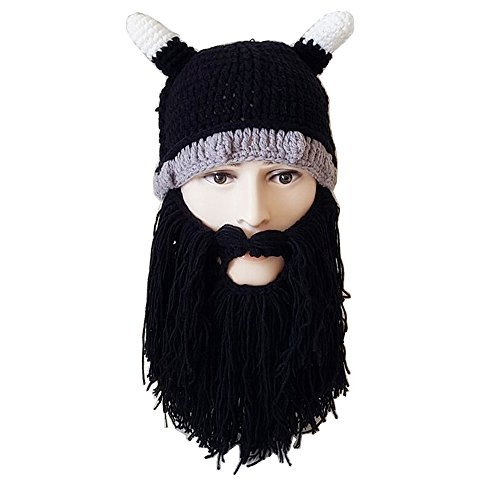 Flyou Creative Men Women Beard Wig Hats Handmade Knit Warm Winter Caps Halloween Cosplay Caps