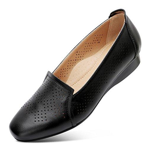 Mujer De 38 Tamaño Mediana Negro De ZCJB De Plano Edad Zapatos Suela Color De Mamá De Zapatos De Zapatos Suela Blanda De Mujer Fondo De Cuero Zapatos pFqw85