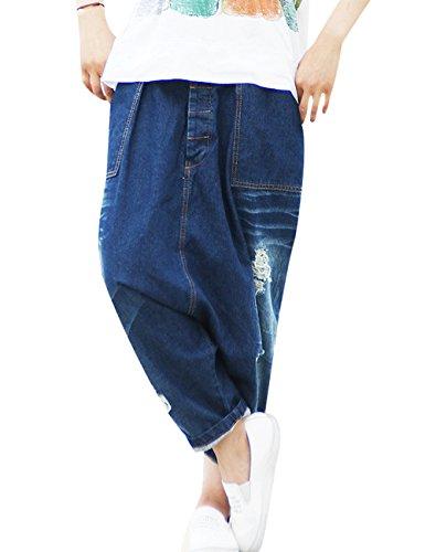 Youlee Femmes Taille lastique Jambe Large Harem Pantalon Trou Jeans Style 11 Vert
