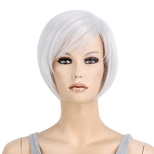 Stfantasy Wigs for Women Cosplay Costume Short Straight Synthetic Bob Style Peluca 12 Inch 95g w/ free Wig Cap and Clips, Silver Grey - Chip On The Shoulder Costume
