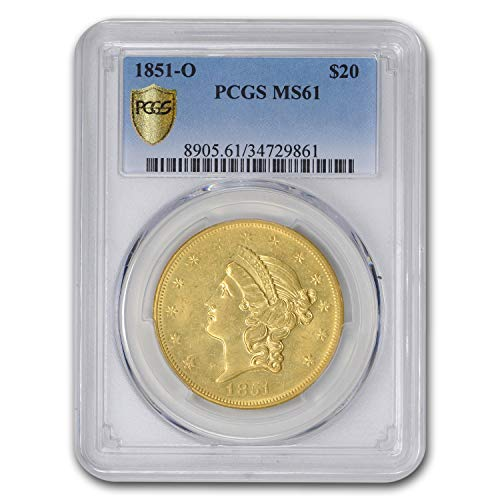 1851 O $20 Liberty Gold Double Eagle MS-61 PCGS G$20 MS-61 PCGS