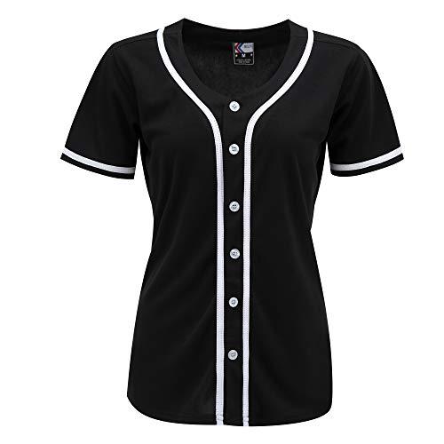 MOLPE Women Hip Hop Hipster Button Down Baseball Jersey, Plain Softball Uniform, Short Sleeve Active Shirts
