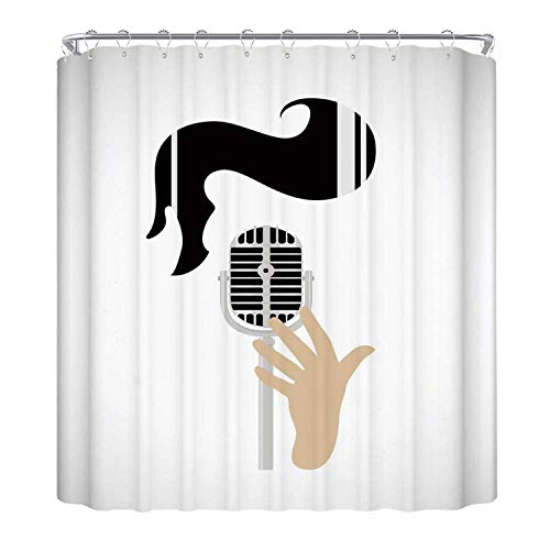 YOLIYANA Elvis Presley Decor The Shower Curtain,Vintage Microphone and Retro Haircut Iconic Singers Hairstyle Fashion Decorative Utility Shower Curtain,78.7