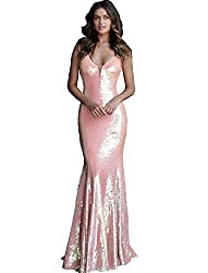 Plunging Coral Neckline Sequin Prom Dress