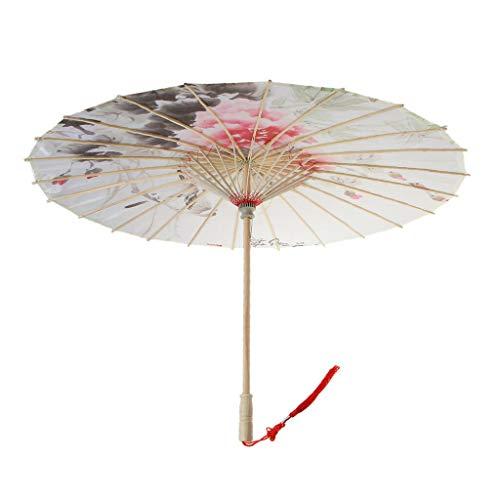 BROSCO Chinese Umbrella Art Decor Painted Parasol Wedding Party Fabric Umbrella | Color - E