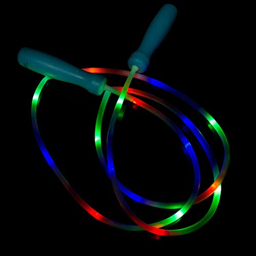 Fun Central AU063, 1 Pc 100 Inches LED Light Up Jump Rope, Jumping Rope, Light Up Jump Rope, Chinese Jump Rope, Jump Rope Kids, Girls Jump Rope, LED Rope Lights -