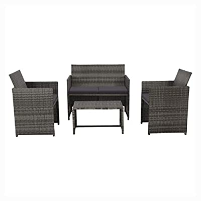 HEATAPPLY Outdoor Furniture Set, 4 Piece Garden Lounge with Cushions Set Poly Rattan Gray