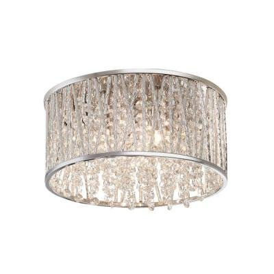 3-Light Polished Chrome and Crystal Flushmount - Crystal Polished Lighting