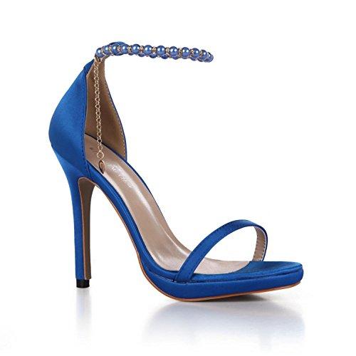 seta perline scarpe tacchi comode catena 4U® alti da sposa Blue tinta di Best Sandali in gomma in da finta unita suola perline base estivi donna 12CM qzw0ZRAO