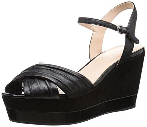 Nine West mujer sandalias de cuña de piel Velma Negro