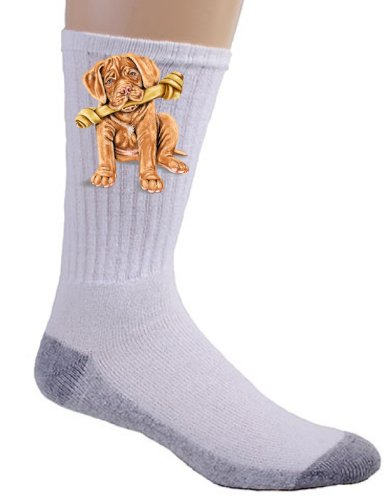 Mastiff Socks (Cute French Mastiff Pet Puppy Dog w/ Bone - Crew Socks)