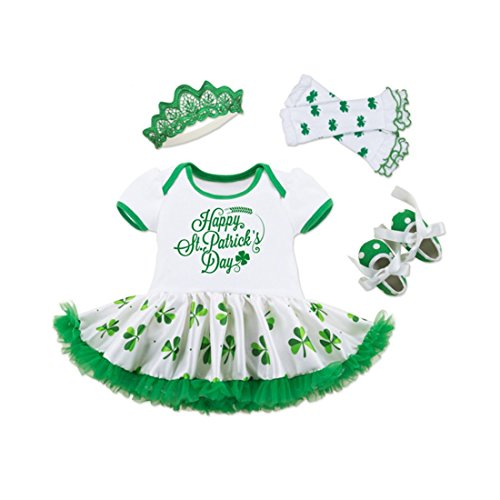 WINZIK Infant Baby Girls Happy St. Patrick's Day Letters Print Romper Bodysuit Dress+Shoes+Socks+Headband Clothes Set (6-12 Months) Green -